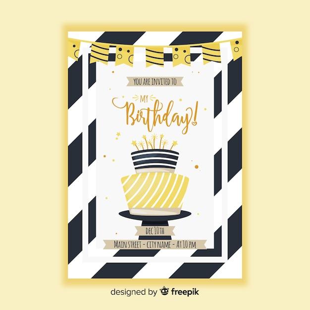 Modèle d'invitation anniversaire dans un style plat Vecteur gratuit