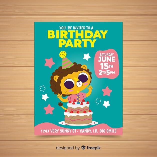 Modèle d'invitation anniversaire design plat | Télécharger des Vecteurs gratuitement