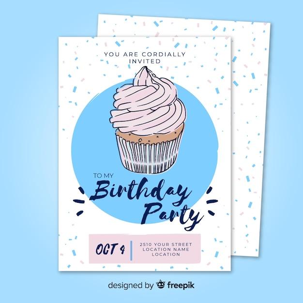 Modèle d'invitation anniversaire dessiné à la main Vecteur gratuit