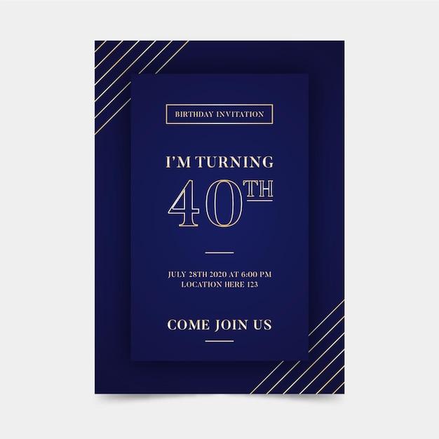 Modèle D'invitation D'anniversaire élégant Vecteur Premium