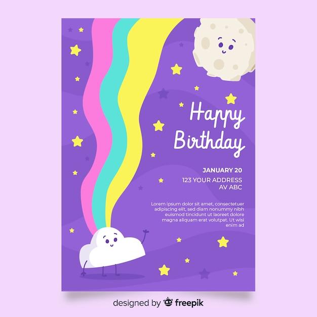 Modèle d'invitation anniversaire enfants Vecteur gratuit