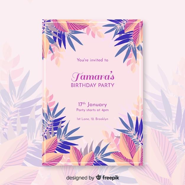 Modèle d'invitation d'anniversaire floral coloré Vecteur gratuit