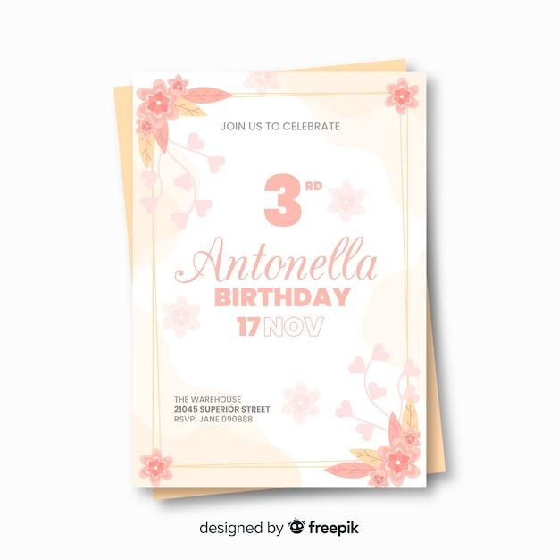 Modèle d'invitation d'anniversaire floral avec licorne Vecteur gratuit