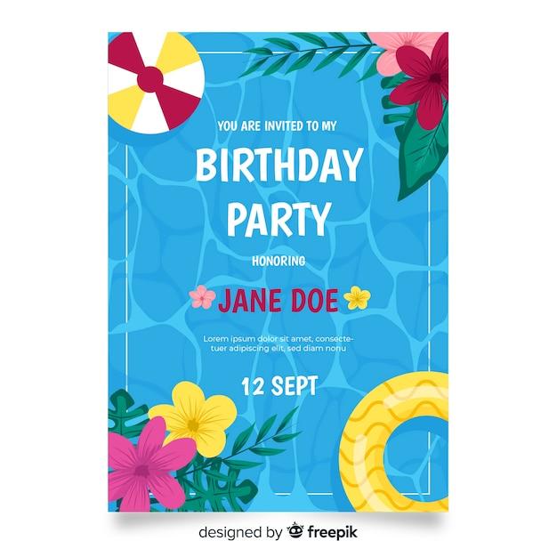 Modèle d'invitation d'anniversaire floral Vecteur gratuit