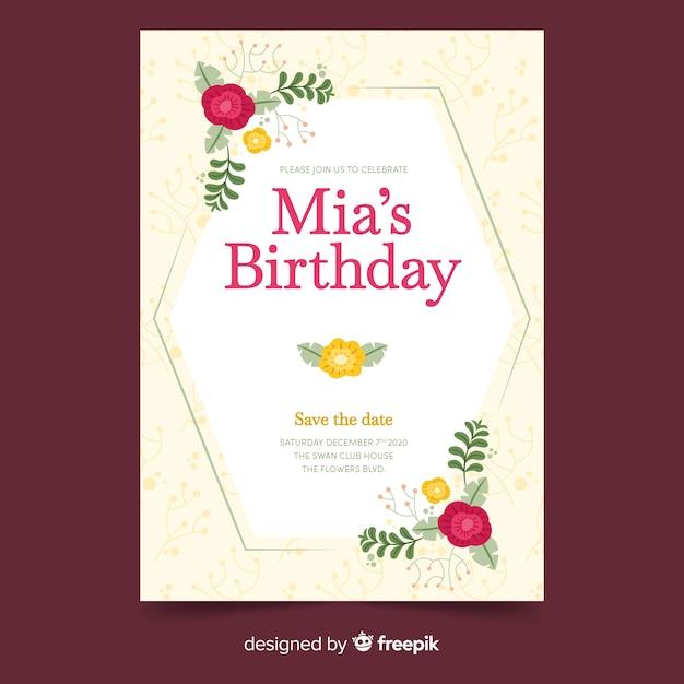 Modèle d'invitation anniversaire avec motif floral Vecteur gratuit