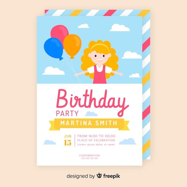 Modèle d'invitation anniversaire plat coloré Vecteur gratuit