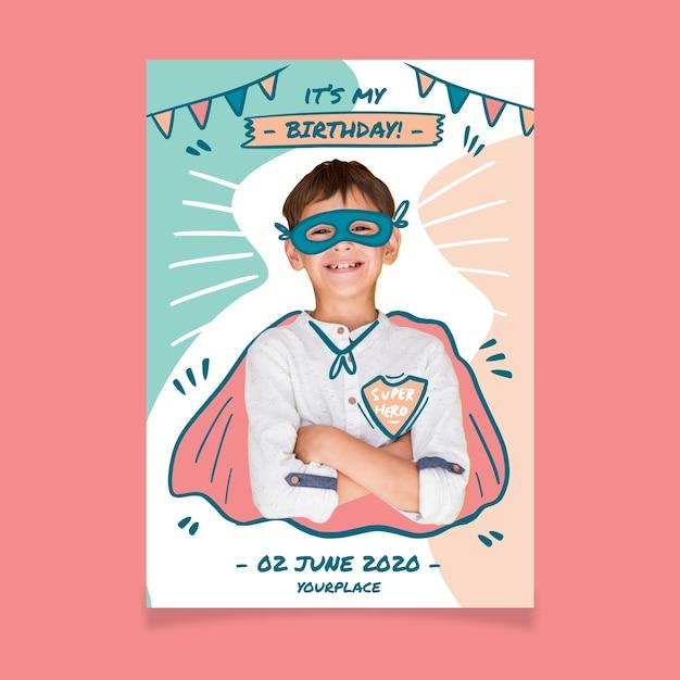 Modèle D'invitation D'anniversaire Pour Enfants Vecteur gratuit