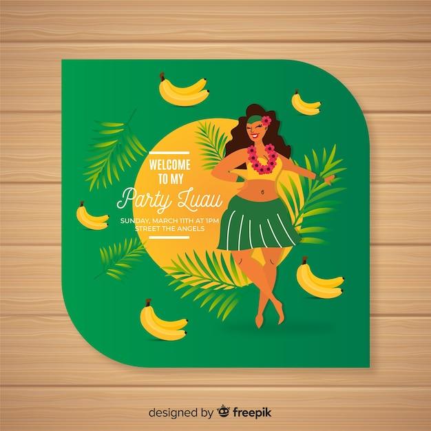 Modèle D'invitation De Bananes Luau Vecteur gratuit