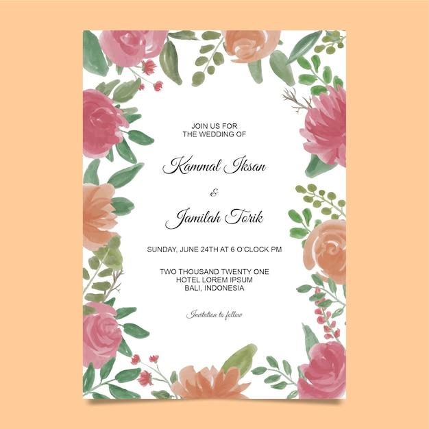 Modèle D'invitation Avec Cadre De Fleur Aquarelle Vecteur Premium
