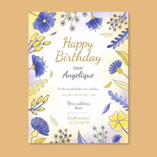 Modele D Invitation De Carte D Anniversaire Floral Vecteur Gratuite
