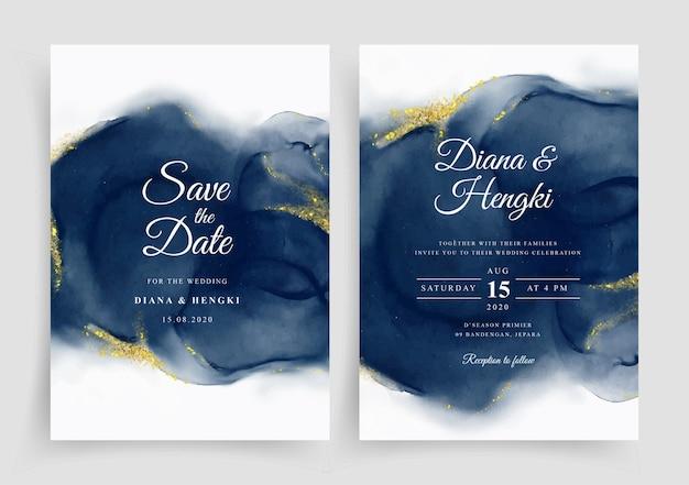 Modèle D'invitation De Carte De Mariage élégant Avec Aquarelle Peinte à La Main Vecteur Premium