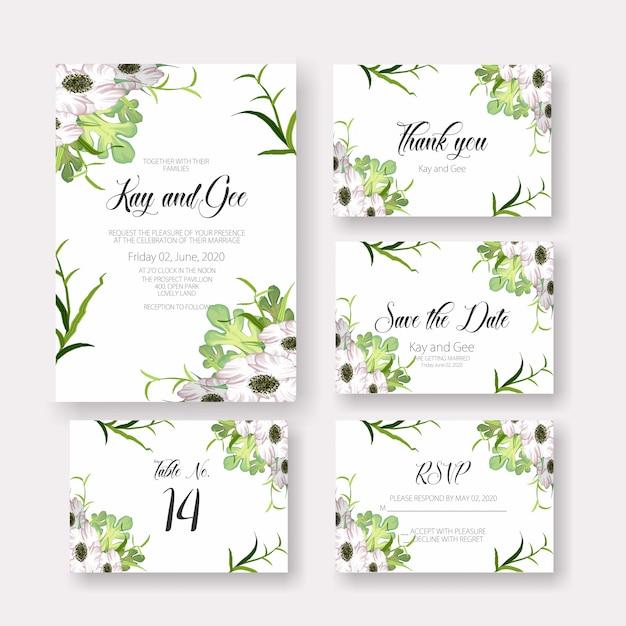 Modèle d'invitation de carte de mariage Vecteur Premium
