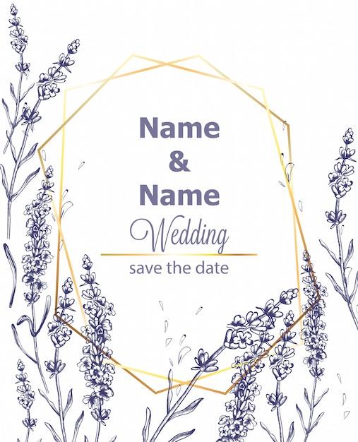 Modèle d'invitation de cérémonie de mariage carte de lavande vintage ligne art été Vecteur Premium