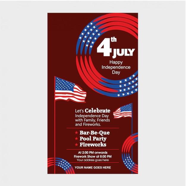 Modèle d'invitation du jour de l'indépendance des états-unis du 4 juillet avec spectacle aérien, défilé de vélos et attraction de feux d'artifice. Vecteur Premium
