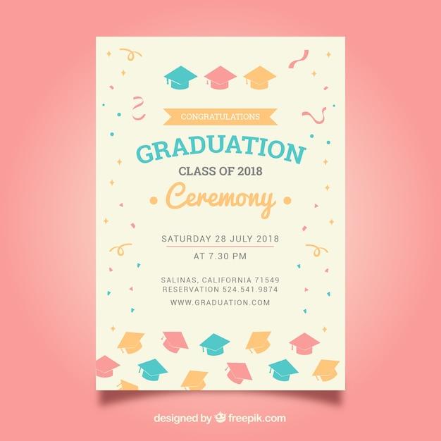Modèle D'invitation élégant De Graduation Vecteur gratuit