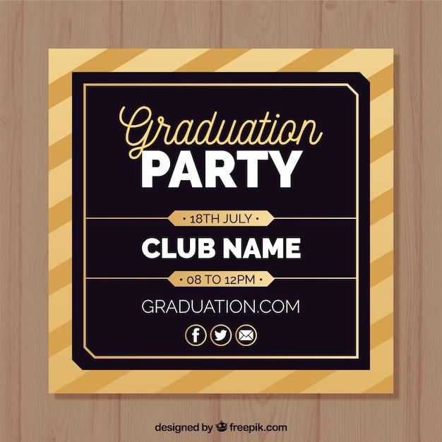 Modèle d'invitation élégante fête de graduation avec design plat Vecteur gratuit