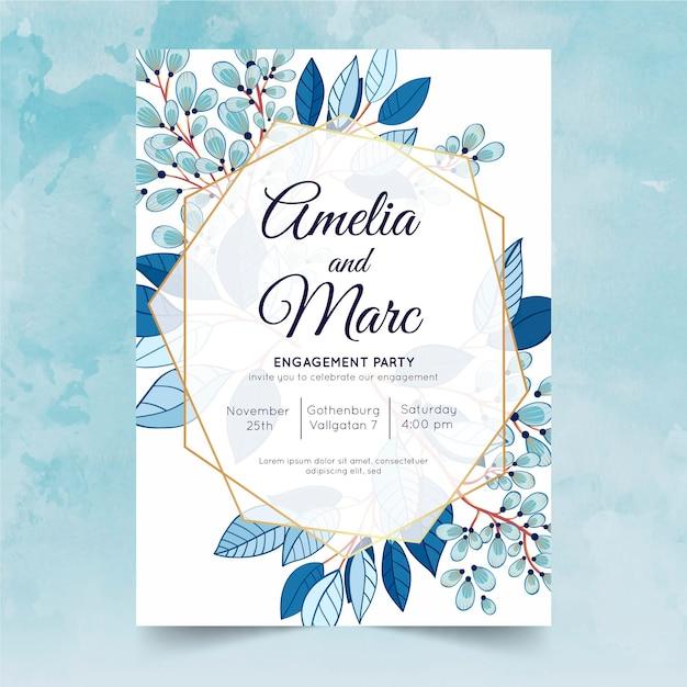 Modèle D'invitation D'engagement Floral Vecteur gratuit
