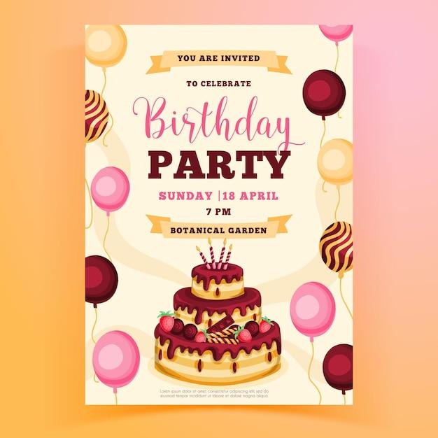 Modèle D'invitation De Fête D'anniversaire Avec Gâteau Vecteur gratuit
