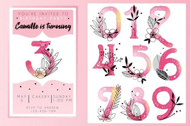 Modèle d'invitation fête d'anniversaire avec des numéros d'aquarelle Vecteur Premium