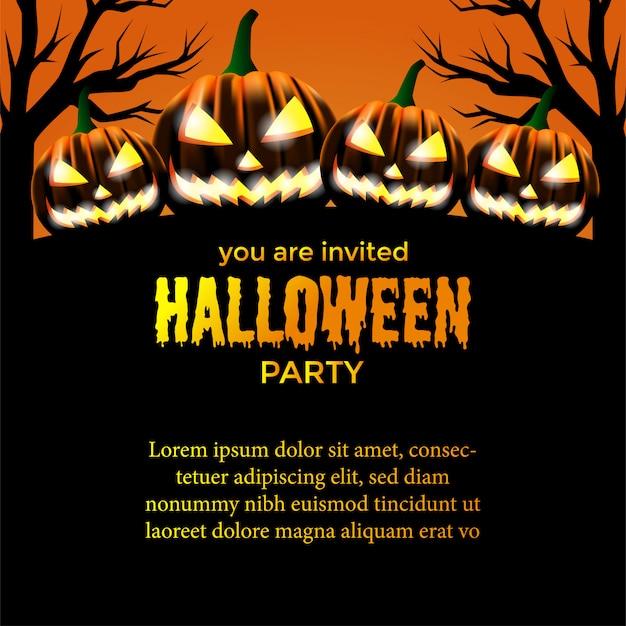 Modèle d'invitation à la fête d'halloween Vecteur Premium