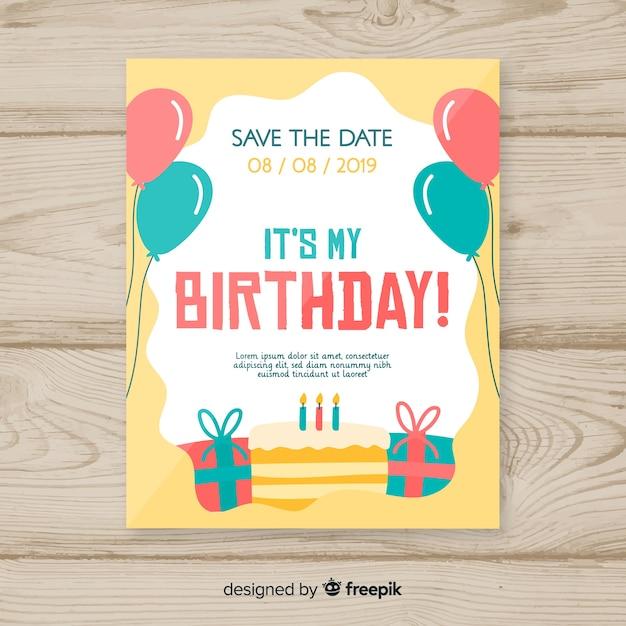 Modèle d'invitation fête joyeux anniversaire Vecteur gratuit