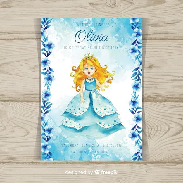 Modèle d'invitation de fête princesse aquarelle Vecteur gratuit
