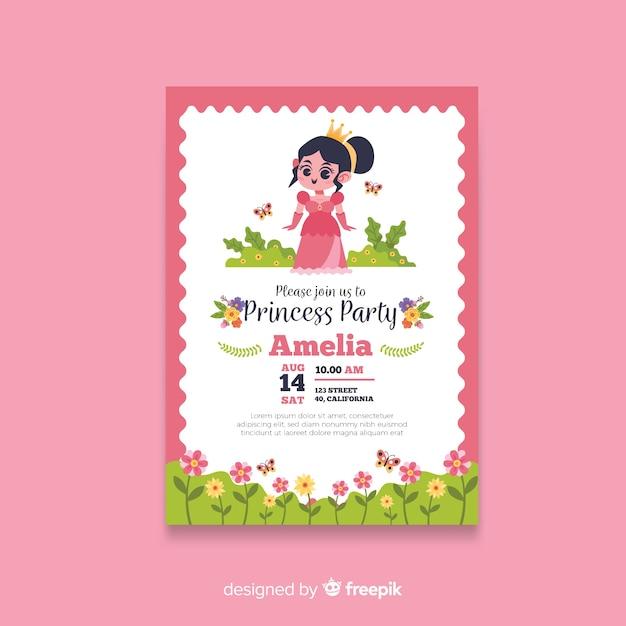 Modèle d'invitation de fête princesse dessiné à la main Vecteur gratuit