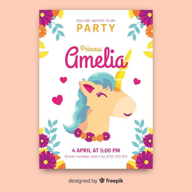Modèle d'invitation de fête princesse du château licorne dessiné main Vecteur gratuit