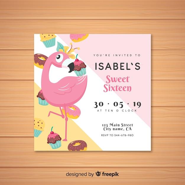 Modèle d'invitation flamingo seize anniversaire Vecteur gratuit