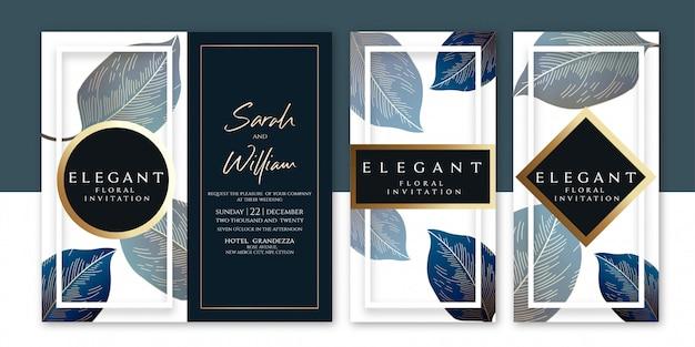 Modèle d'invitation floral Vecteur Premium
