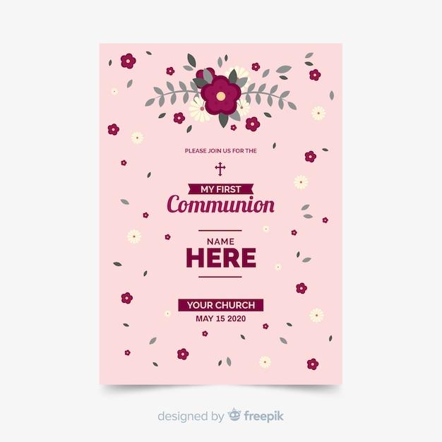 Modele D Invitation Florale Premiere Communion Vecteur Gratuite