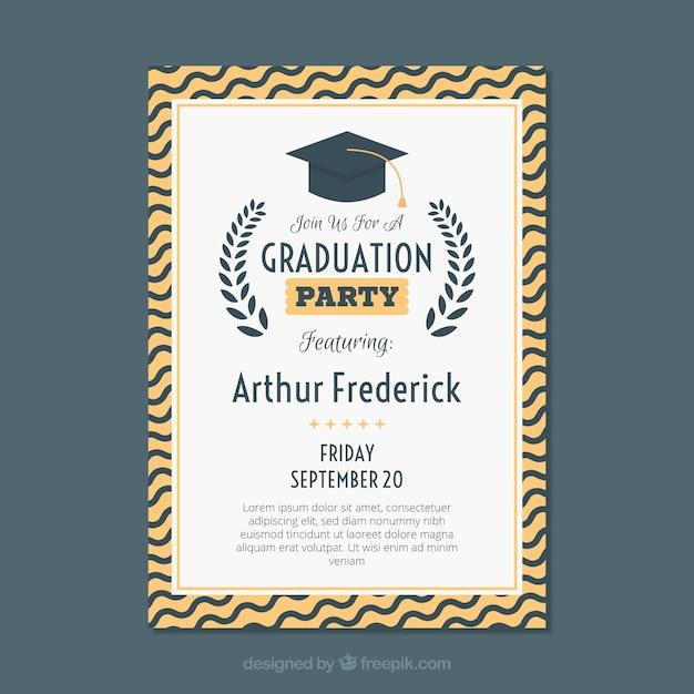 Modèle d'invitation de graduation classique avec design plat Vecteur gratuit