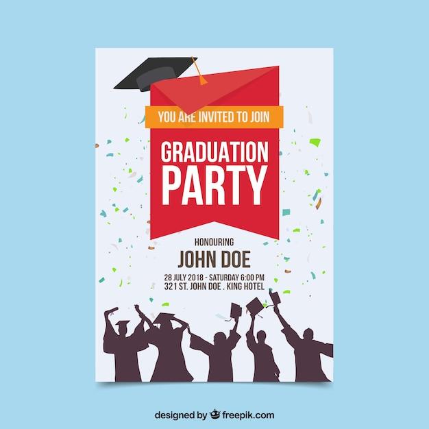 Modèle d'invitation de graduation colorée avec design plat Vecteur gratuit