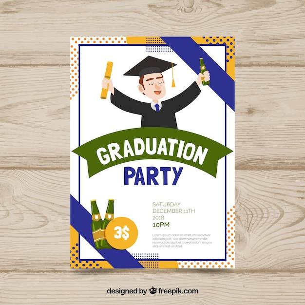 Modèle d'invitation de graduation avec design plat Vecteur gratuit