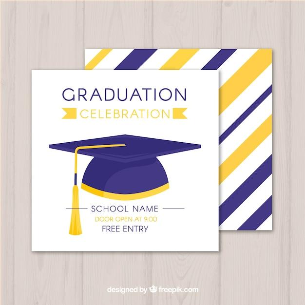 mod u00e8le d u0026 39 invitation de graduation avec design plat