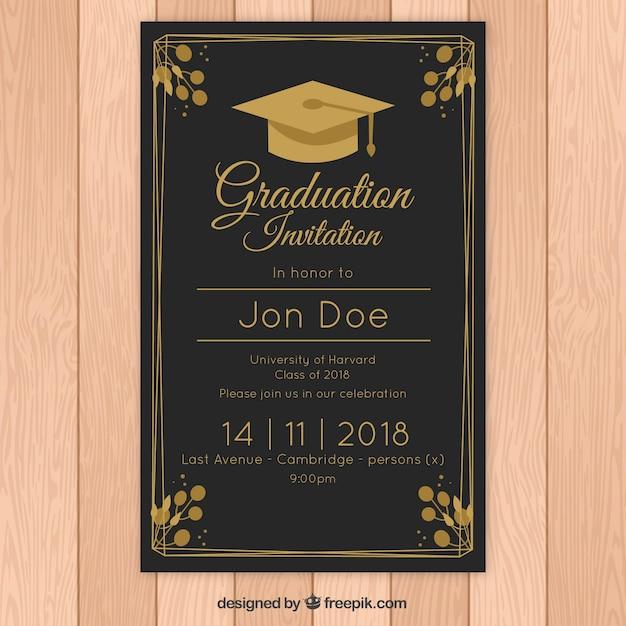 Modèle D'invitation De Graduation élégant Avec Style Doré ...