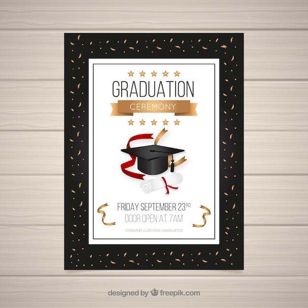 Modèle D'invitation De Graduation   Vecteur Gratuite