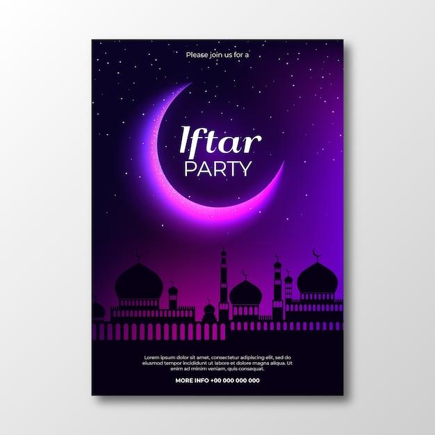 Modèle D'invitation Iftar De Conception Réaliste Vecteur gratuit