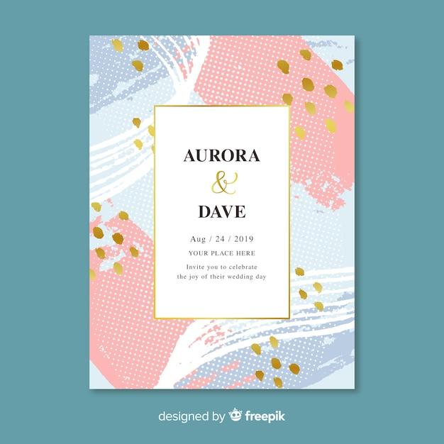 Modèle d'invitation de mariage abstrait peint à la main Vecteur gratuit