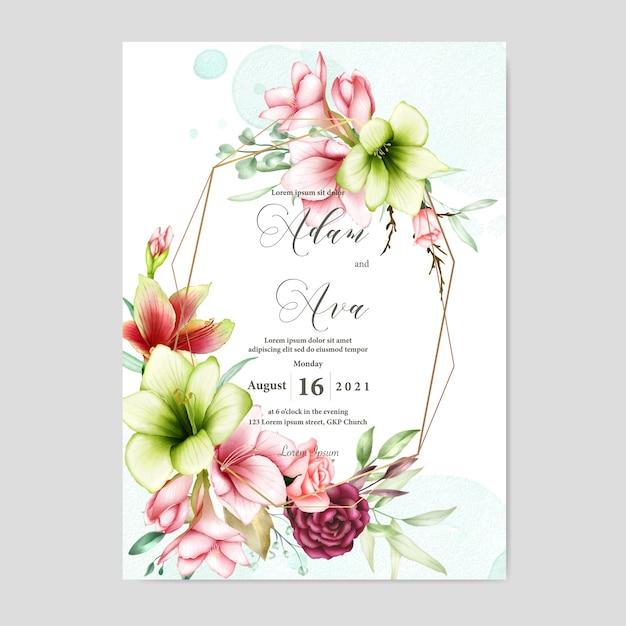 Modèle d'invitation de mariage avec amaryllis aquarelle et fleurs roses Vecteur Premium