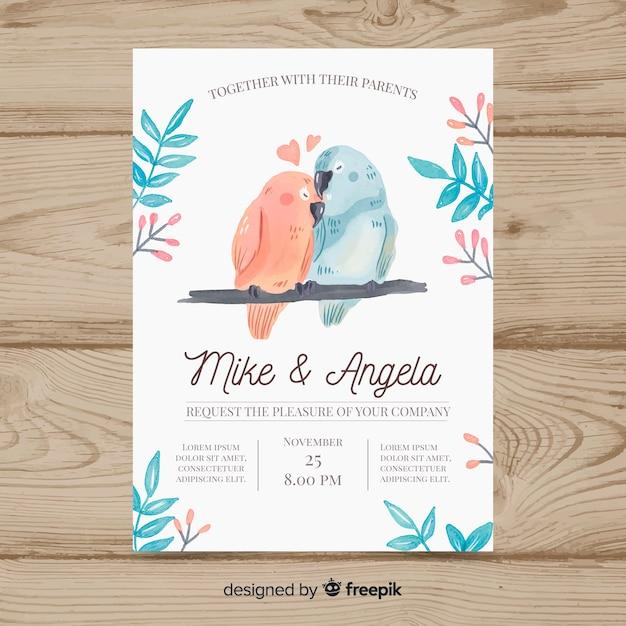 Modèle d'invitation de mariage animal aquarelle Vecteur gratuit