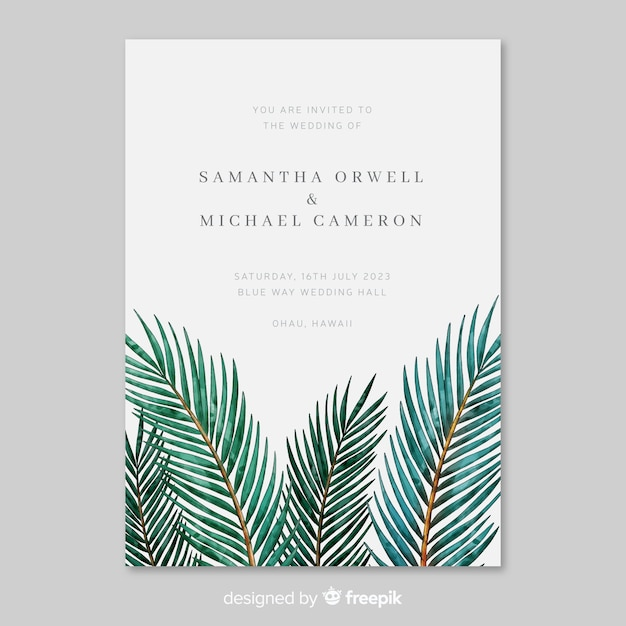 Modèle d'invitation de mariage aquarelle feuilles tropicales Vecteur gratuit