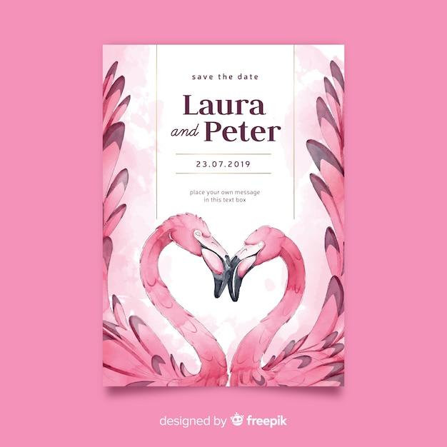 Modèle d'invitation de mariage aquarelle flamants roses Vecteur gratuit