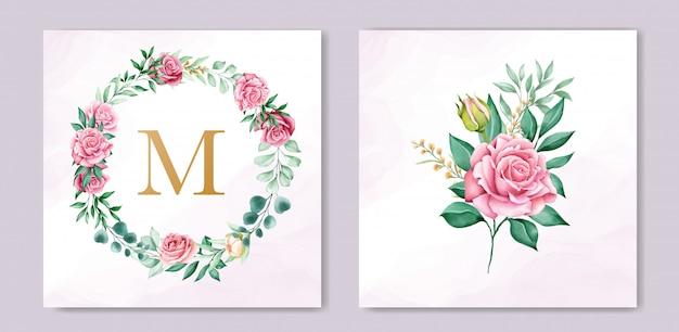 Modèle D'invitation De Mariage Aquarelle Floral Vecteur gratuit