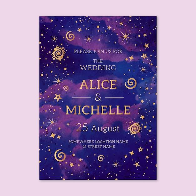Modèle D'invitation De Mariage Aquarelle Galaxie Vecteur gratuit