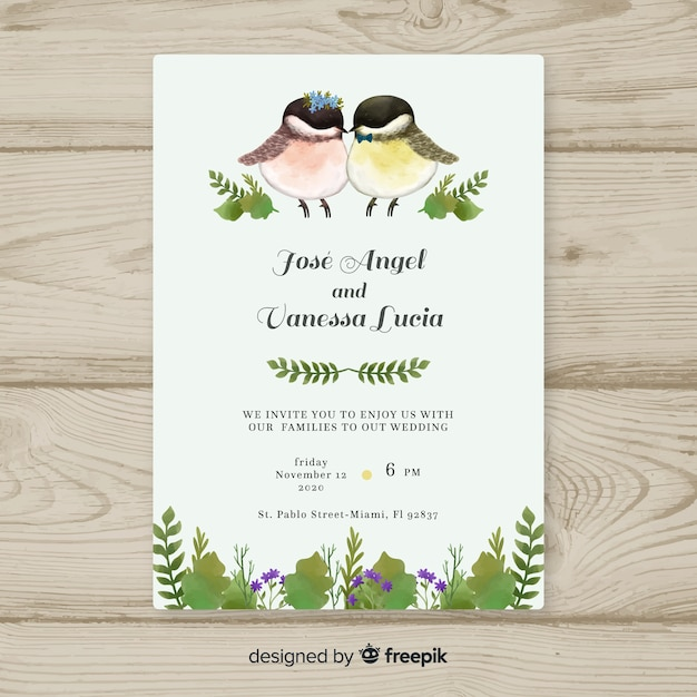 Modèle d'invitation de mariage aquarelle oiseaux Vecteur gratuit