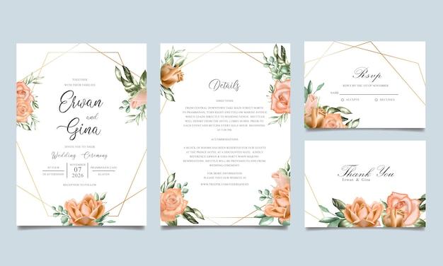Modèle d'invitation de mariage aquarelle Vecteur Premium