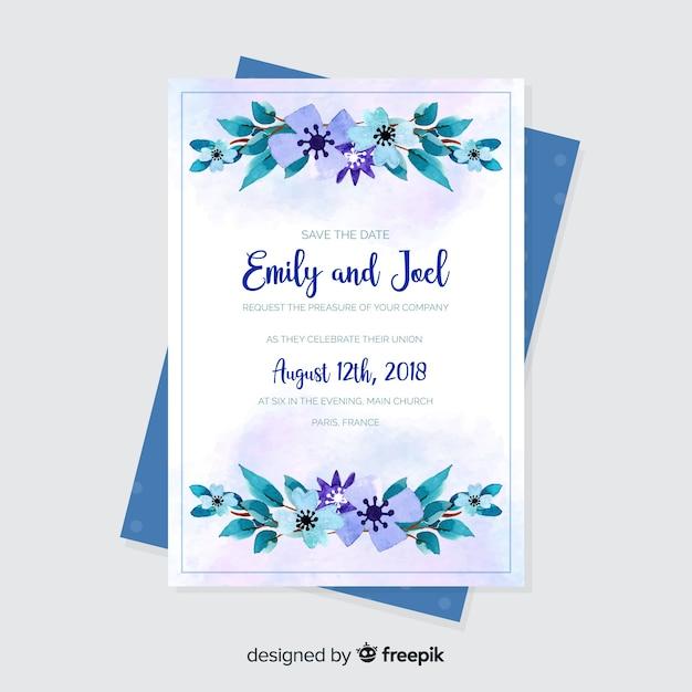 Modèle d'invitation de mariage aquarelle Vecteur gratuit