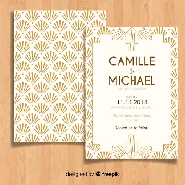 Modèle d'invitation de mariage belle dans le style art déco Vecteur gratuit