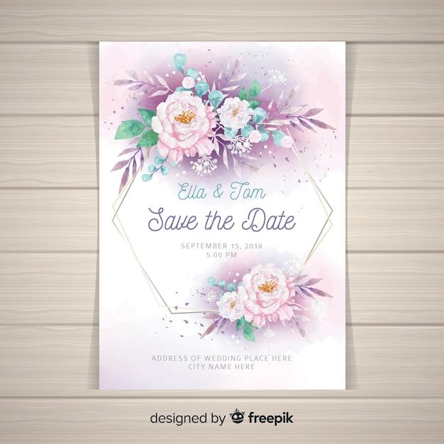 Modèle d'invitation de mariage avec de belles fleurs de pivoine Vecteur gratuit